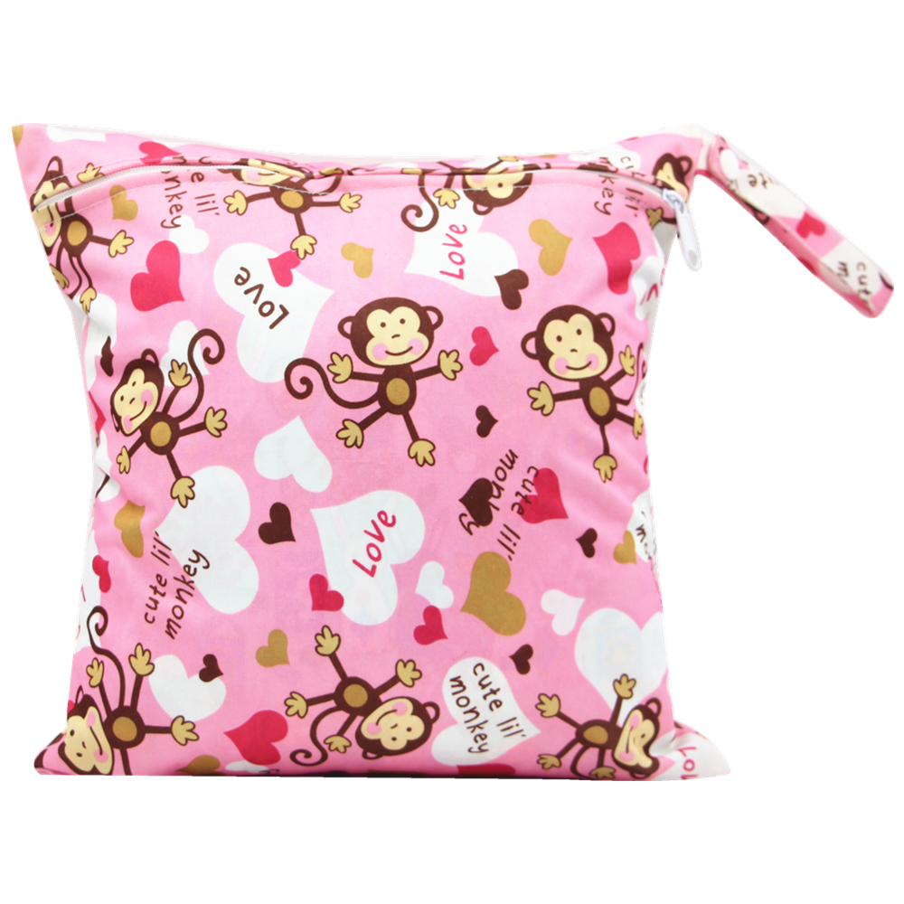 Monkey Print Striped Waterproof Hanging Cloth Diaper Wet/Dry Bags