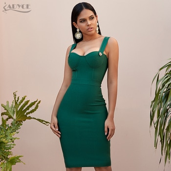 Adyce 2019 New Summer Green Bandage Dress Women Sexy Sleeveless Spaghetti Strap Red Club Celebrity Evening Party Dress Vestidos
