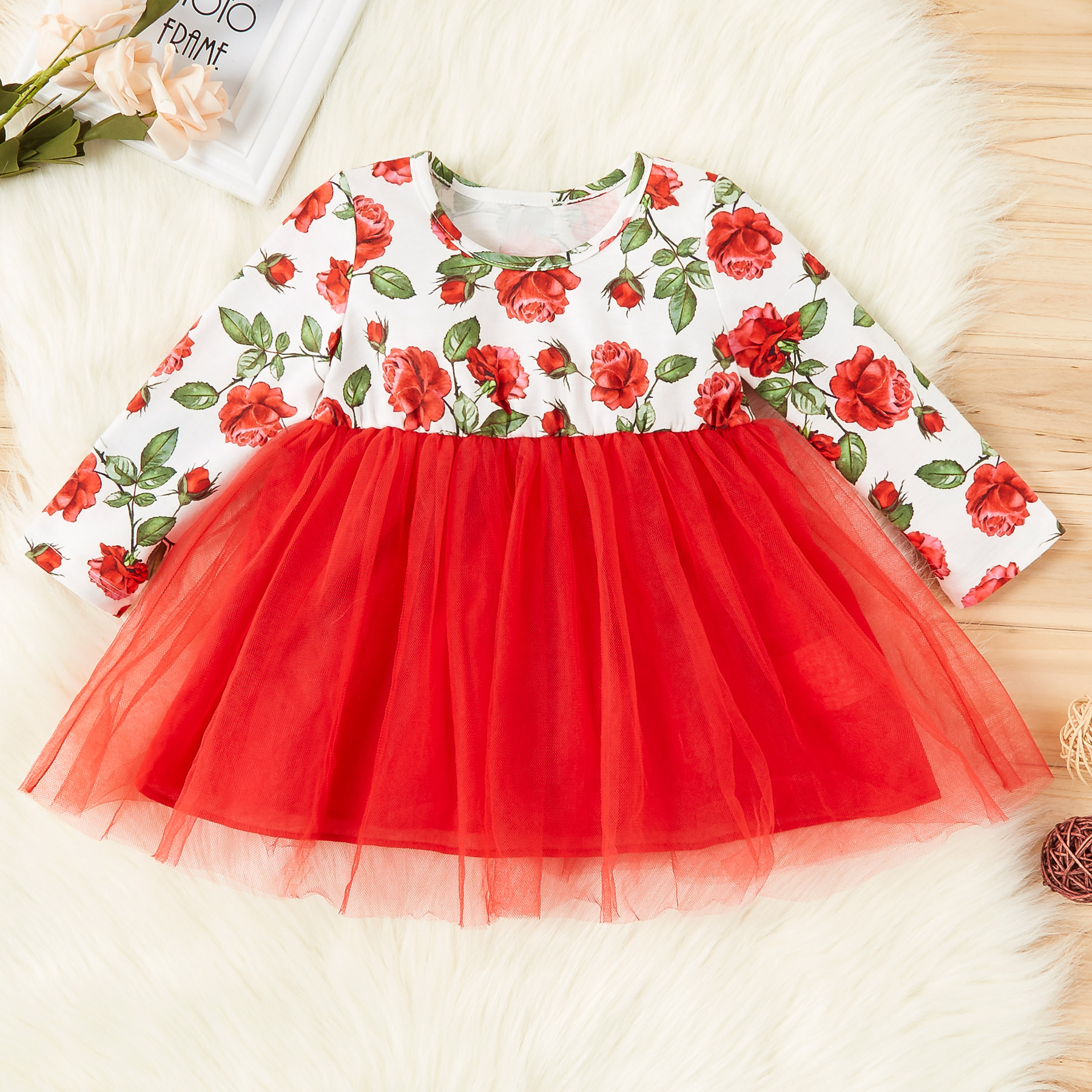 Baby / Toddler Floral Allover Splice Tulle Dress