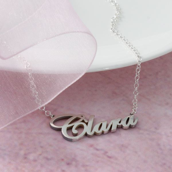 Solid Silver Name Necklace Name Between 9-12 Letters