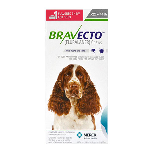 Bravecto For Medium Dogs 22- 44 Lbs (Green) 2 Chews