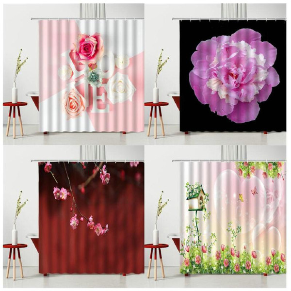 Shower Curtains Cartoons Spring Pink Flowers Bathtub Decor Waterproof Polyester Fabric Bath Curtain Multiple Size