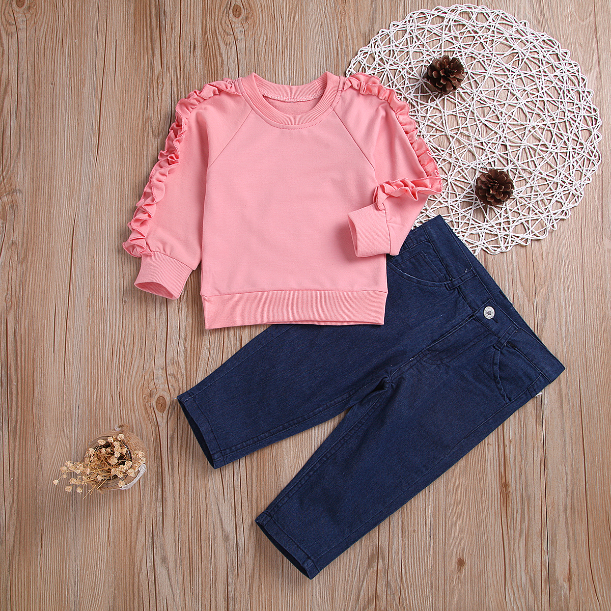 Baby / Toddler Solid Ruffled Sleeve Tee and Pants Set