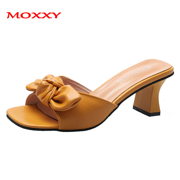 2019 New Summer Fashion High Heels Sandals Women Sandals Leather Bow Sexy Yellow White Sandal Outdoor Slippers Women Shoe Slides