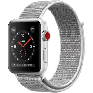 Apple Watch Series 3 (GPS + Cellular) - 42 mm - Aluminium, Silber - intelligente Uhr mit Sportschleife - gewebtes Nylon - Muschelschale - 145-220 mm - 16 GB - Wi-Fi, Bluetooth - 4G - 34.9 g