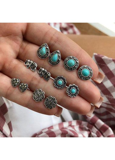 Silver Metal Turquoise Embellished Ear Studs for Woman