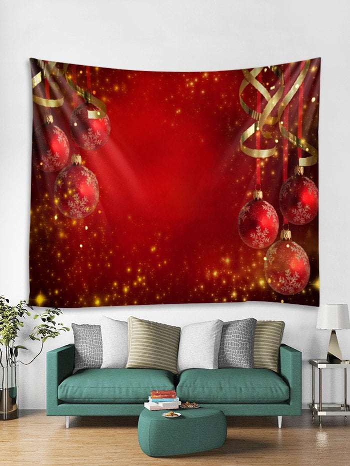 Christmas Balls Ribbons Print Tapestry Wall Hanging Decoration