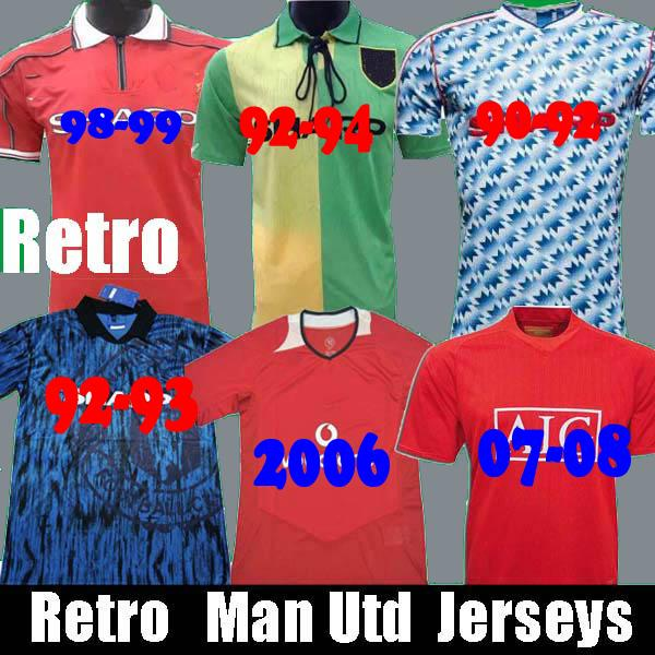 Retro 90 92 United Home away soccer jerseys Manchester SCHOLES 06 07 08 94 96 97 98 99 86 88 Giggs Beckham RONALDO CANTONA Football Shirts