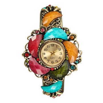 Retro Women Watch Vintage Cloisonne Flower Rhinestone Crystal Bracelet Watch