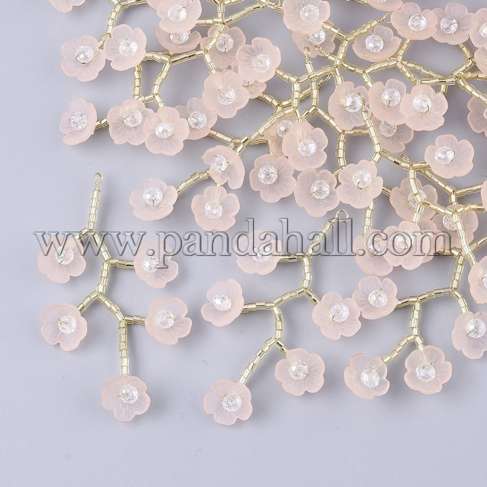 Acrylic Big Pendants, with Clear Glass Beads, Glass Seed Beads and Golden Plated Brass Wires, Flower, Pink, 55~60x30~35mm, Hole: 2mm