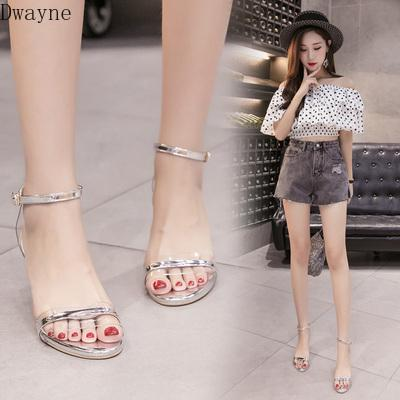 2020 new Korean version of the wild word with transparent sexy fairy sandals women