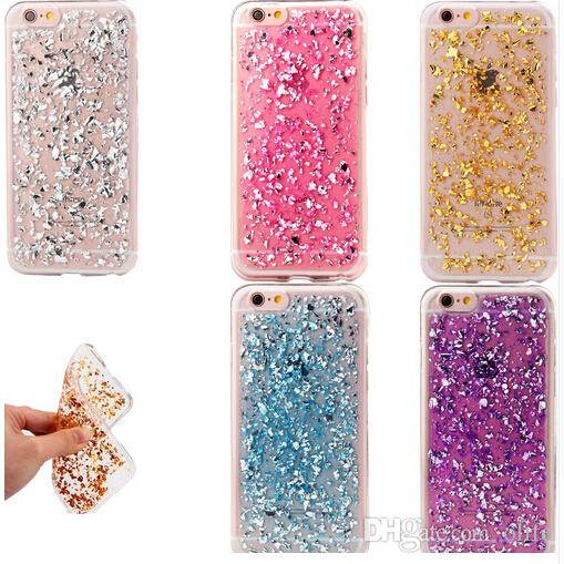 Ultra Slim Gold Foil Bling Glitter Paillette Sequin Skin Clear Soft TPU Silicone Fundas Cover Case For iPhone 7 5s SE 6 6s Plus
