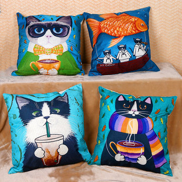 Cute Cartoon Cat Cushion Cover