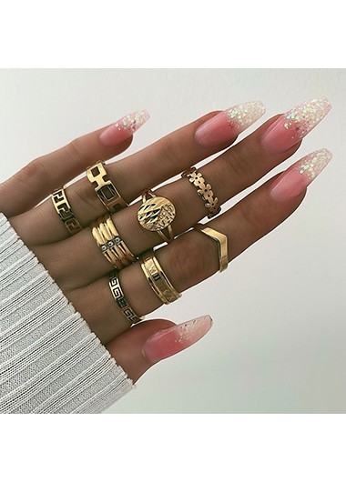 Metal Materail 8pcs Geometric Shape Rings