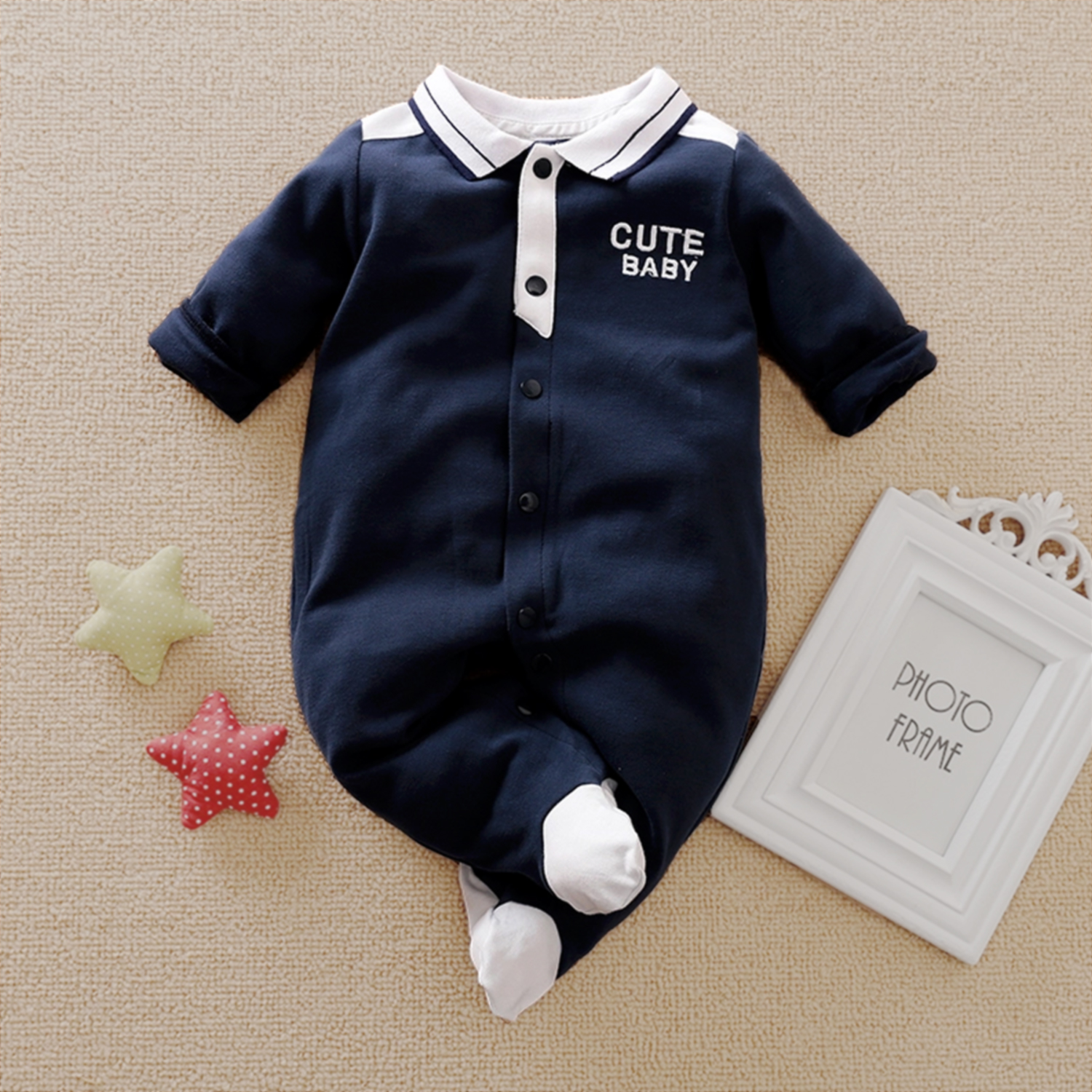 Baby Boy Gentleman Style Polo Collar Long-sleeve Jumpsuit