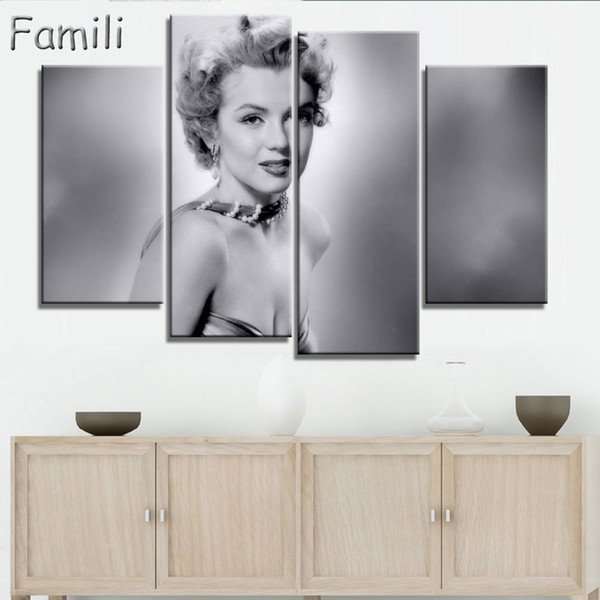 4panel modern oil painting home decorative art picture paint on canvas prints painting marilyn monroe wall paintings