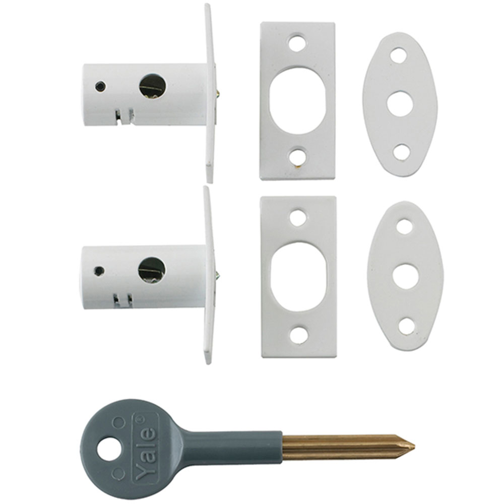 Yale 8001 Security Bolts White Finish Pack of 2 Visi Pack