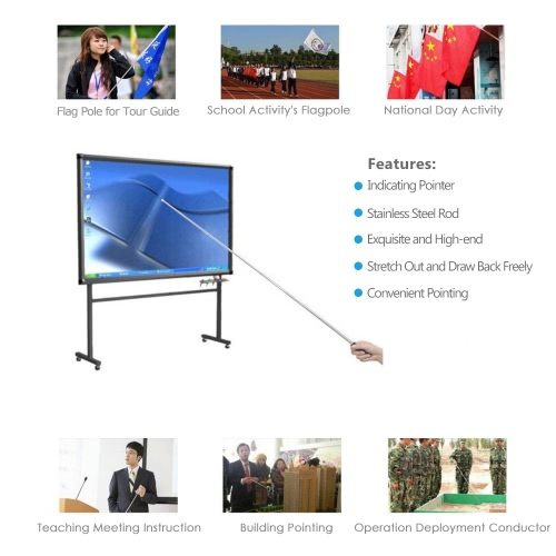 Brand New 1.2 Meters Outdoor Flagpole Stainless Steel Telescopic Flag Pole for Teachers' Teaching Pointer Tour Guide Banner 47
