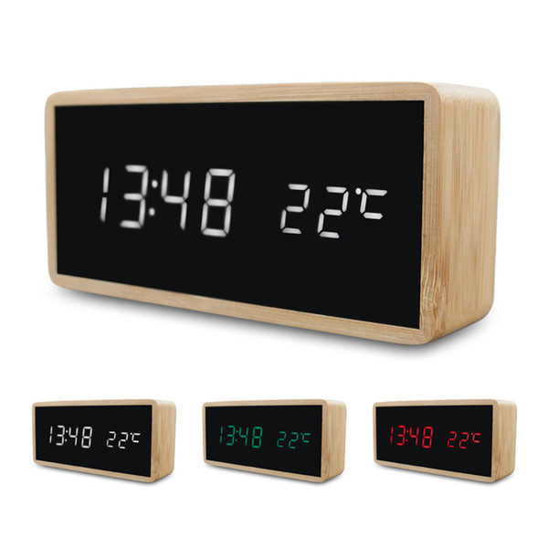 bamboo wooden digital alarm clocks usb charge led display with mirror temperature digital watch home bedroom office study decor