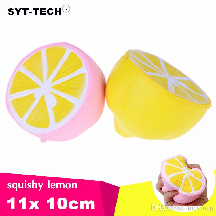 Jumbo Squishy lemon Kawaii Squishy Cute fruit Slow Rising Decoration Phone Strap Pendant Squishes Gift toys doll Decompression Toy 11cm