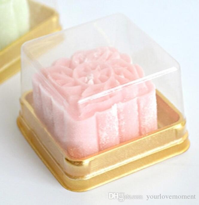 100pcs=50sets 6.8*6.8*4 cm Mini Size Clear Plastic Cake boxes Muffin Container Food Gift Packaging Wedding Supplies