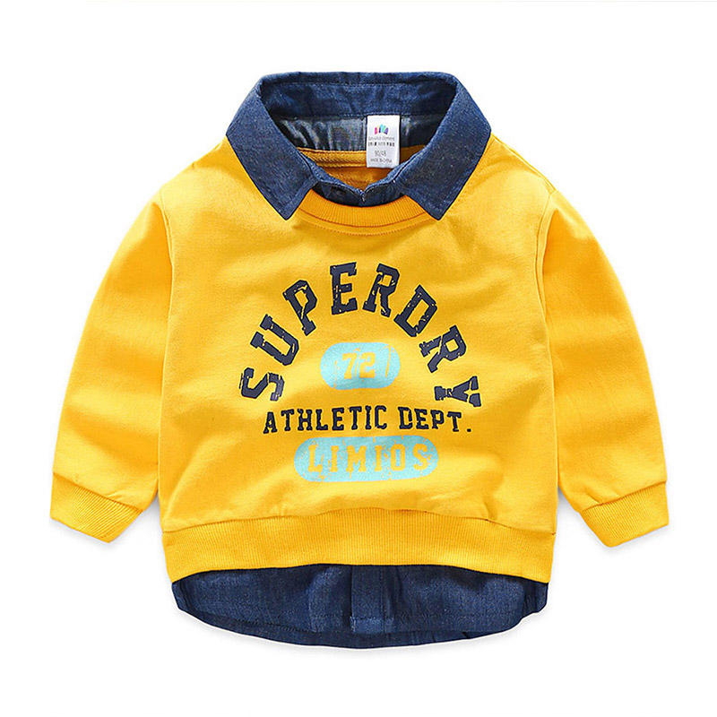 Faux-two Trendy Letter Print Pullover for Toddler Boy and Boy