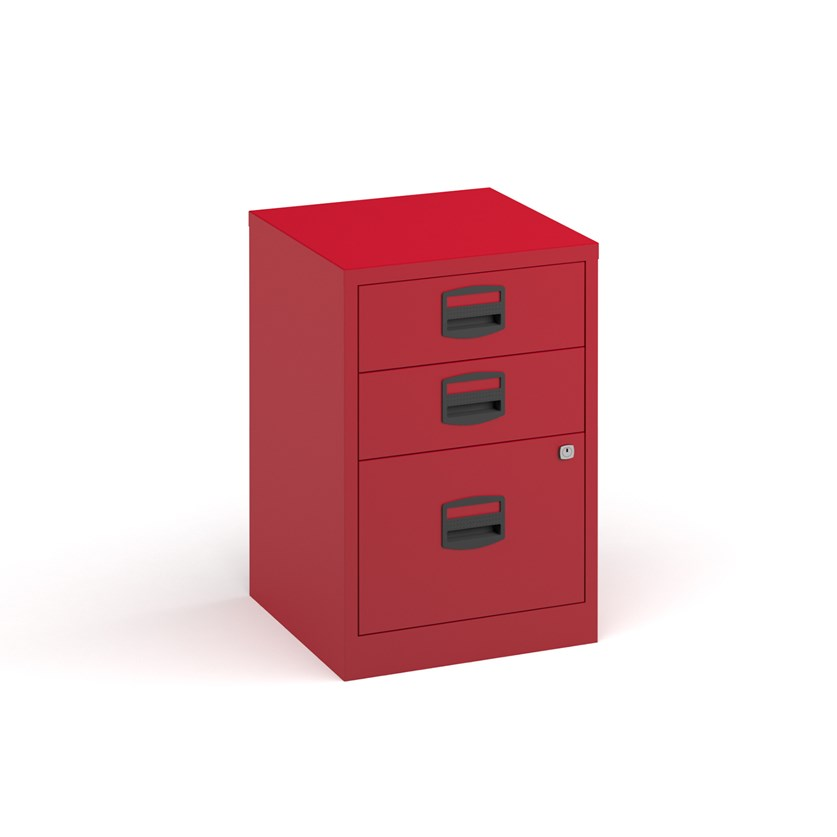 A4 Red Filing Cabinet 3 Drawers