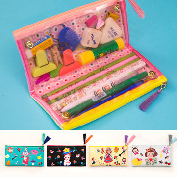 Stationery Pen Pencil Case Student Makeup Coin Pouch Cosmetic Storage Purse Bag