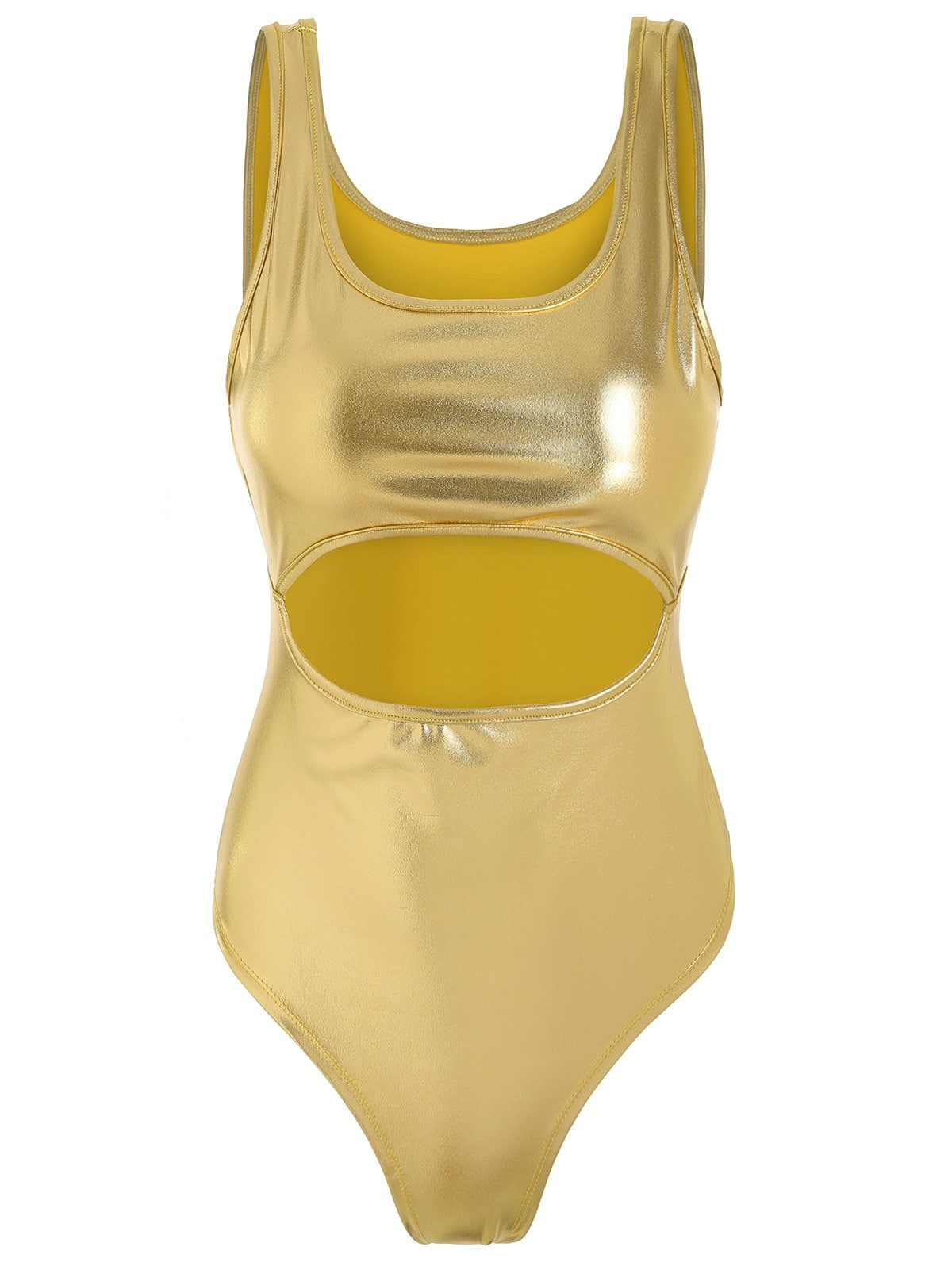 Metallic Cut Out High Leg Swimsuit