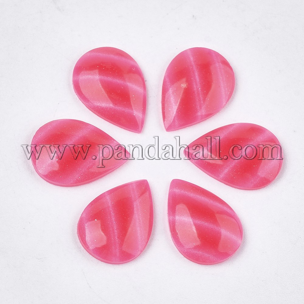 Epoxy Resin Cabochons, Imitation Cat Eye, Teardrop, DeepPink, 11.5~12x7.5~8x3mm