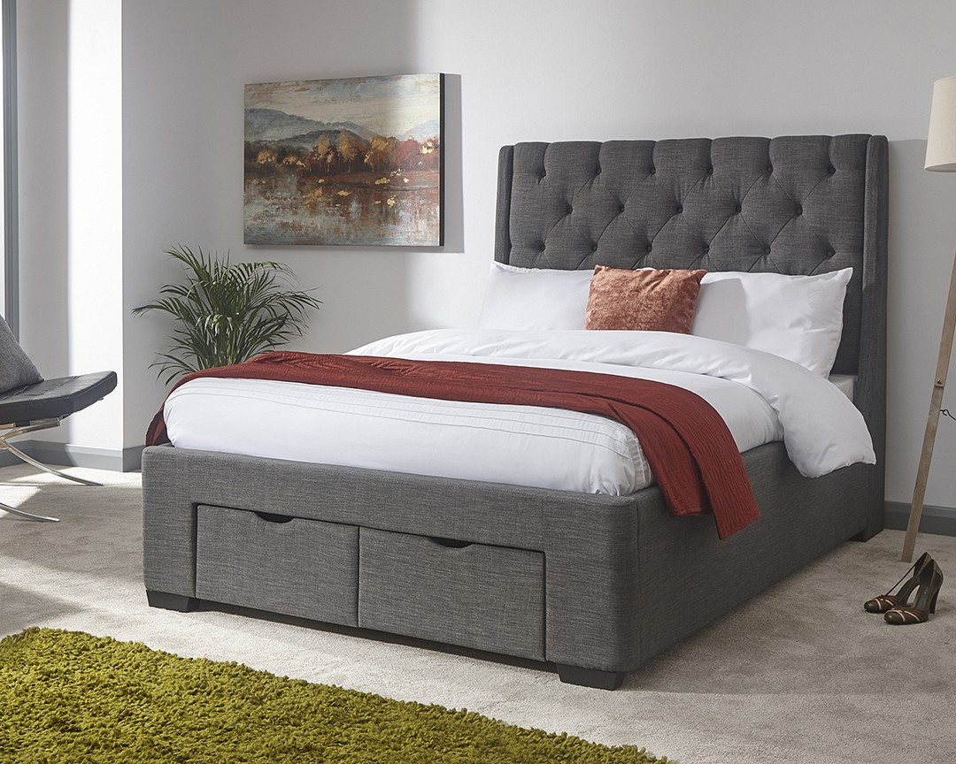 Koln 2 Drawer Fabric Bed Frame - Double