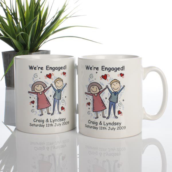 On Your Engagement Personalised Mug Pair