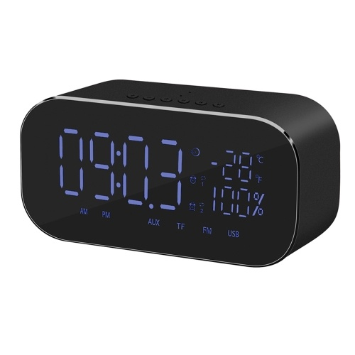 YAYUSI Wireless BT Speaker Stereo Subwoofer w/Large Mirror Display Screen Alarm Clock Support FM TF U Disk AUX IN Music Play w/Mic