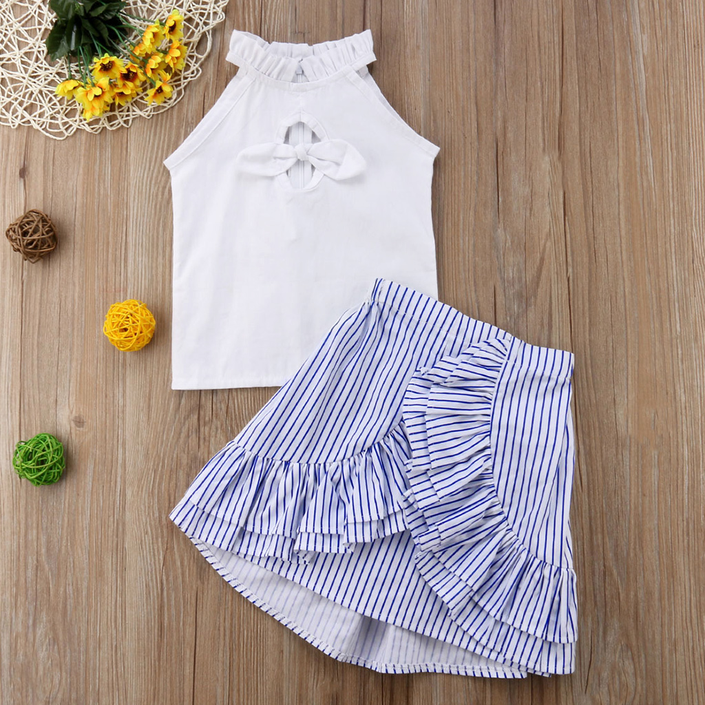 Front Bow Tank and Ruffle Striped Skirt Set