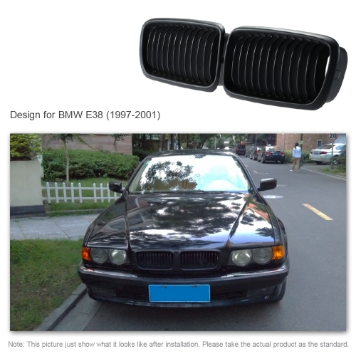 One Pair Front Center Wide Kidney Hood Grilles Matt Black Grill for BMW E38 1997 1998 1999 2000 2001