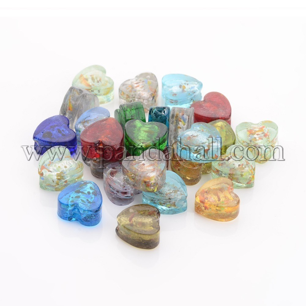 Handmade Silver Foil Glass Beads, Mother's Day Jewellry Making, Heart, Mixed Color, about 12mm wide, 12mm long, hole: 2mm
