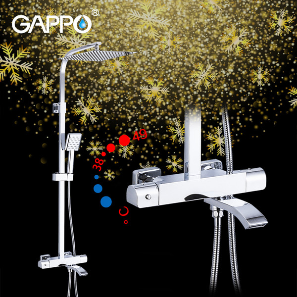 GAPPO brass thermostatic shower system rainfall hot cold water shower faucets bathroom safety warm bath shower mixer G2407-40 1011