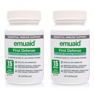 Emuaid First Defense Probiotic Capsules - Diet Supplement - 30 Capsules for 1 Month Supply - 2 Packs