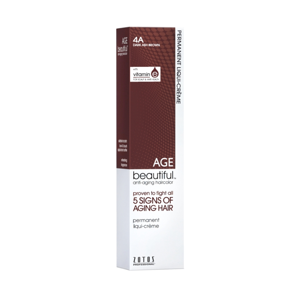 agebeautiful permanent hair colour - 4a dark ash brown 60ml