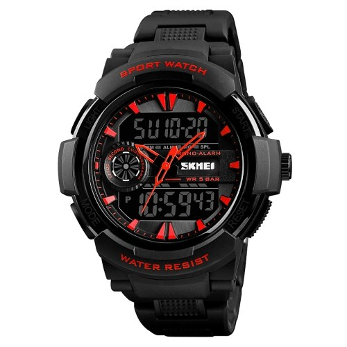 SKMEI 1320 Men Quartz Fashion Casual Sports Wristwatch Dual Time Analog Digital Display Watch 5ATM Water Resistant Leather Strap Backlight Multifunctional Watches