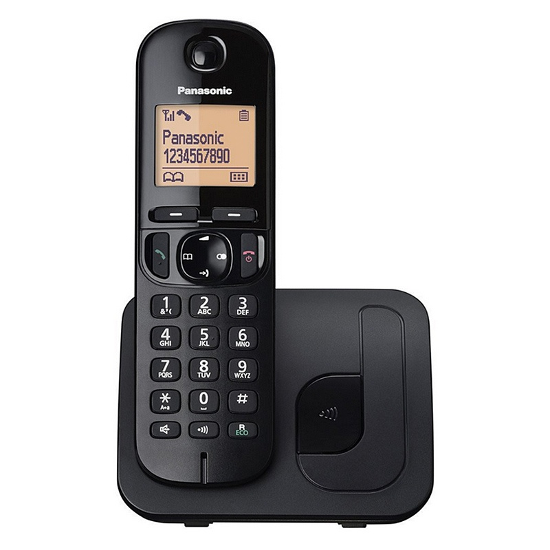 Panasonic Digital Cordless Phone with LCD Display - Black (KX-TGC210EB)