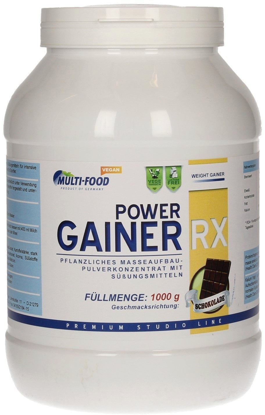 Multi-Food POWER GAINER VEGAN, 1000g Dose - Schoko