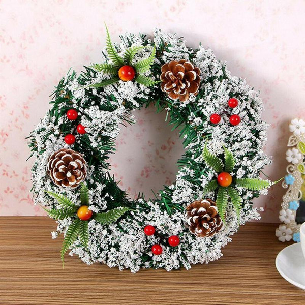 Christmas Wreath Door Decoration PVC Wall Ornament Scene Layout Photo Props Natural Rattan Wreath Home Decor 3 Size for Choice