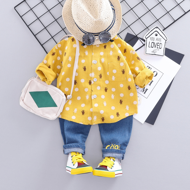 Baby / Toddler Lovely Bear Balloon Print Shirt and Jeans Set