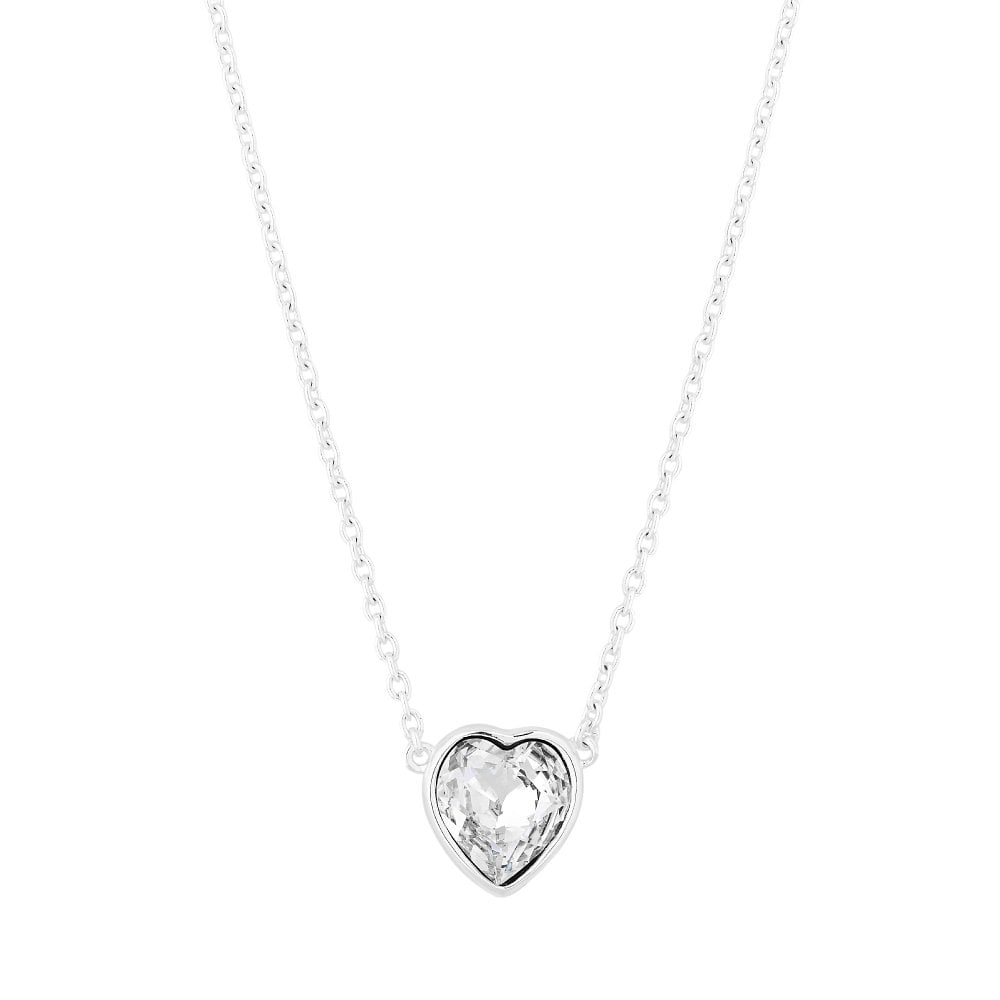 Sterling Silver 925 White Heart Short Pendant Necklace Embellished With Swarovski Crystals