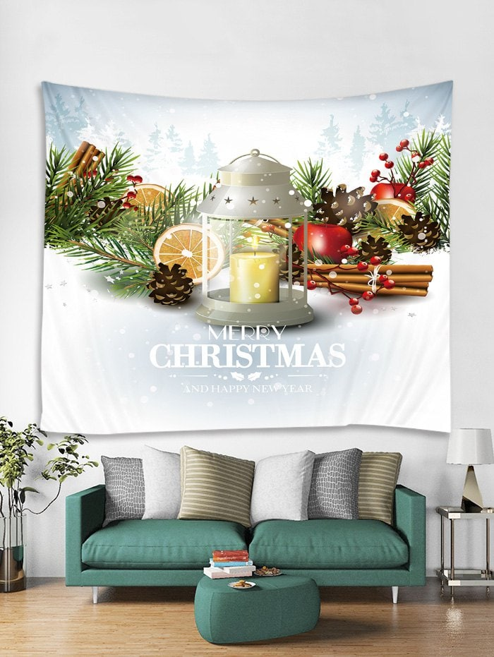 Merry Christmas Candle Printed Tapestry Art Decoration