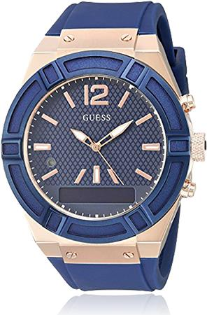 Guess Connect - 45 mm - rose gold / blue - intelligente Uhr mit Band - Silikon - Blau - einfarbig - Bluetooth