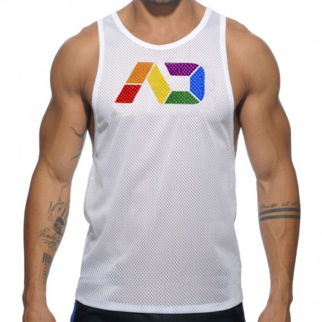 Addicted AD Rainbow Tank Top - White M