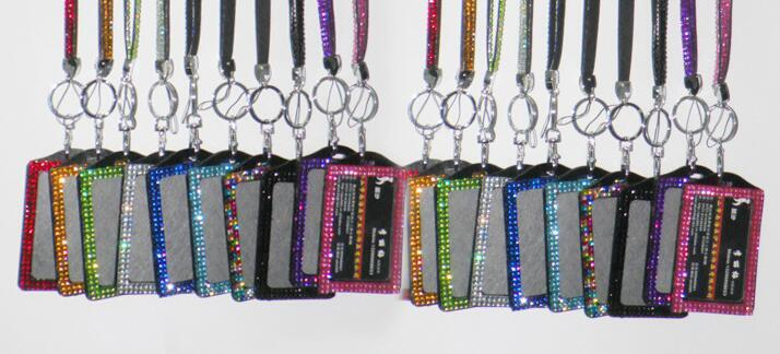 Bling Lanyard Crystal Rhinestone in Neck With Claw Clasp ID Badge Holder with job card