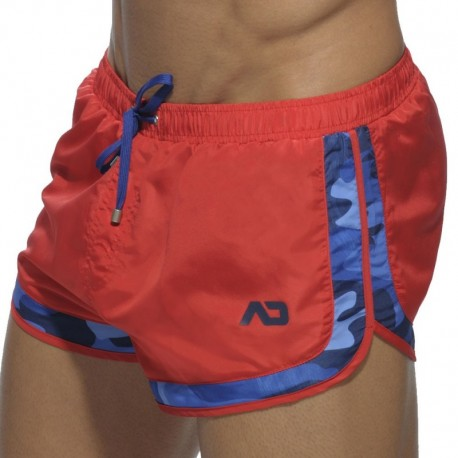 Addicted Rocky Camouflage Detail Swim Short - Red XS
